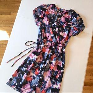 Water color floral faux wrap dress